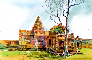 old ruin Thai temple hand illustration