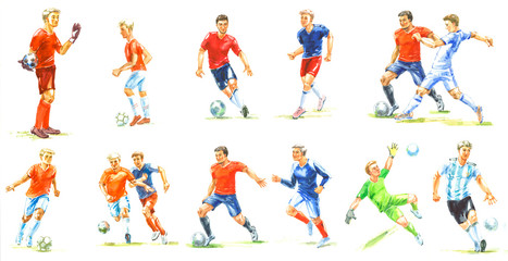 Set of watercolor sketches of soccer players athletes playing with a ball, soccer players on white background for design
