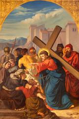 Fototapete - PRAGUE, CZECH REPUBLIC - OCTOBER 15, 2018: The painting Jesus meets the women of Jerusalem in church Bazilika svatého Petra a Pavla na Vyšehrade by František Čermák (1822 - 1884).