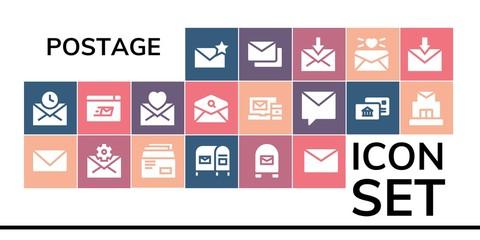 postage icon set