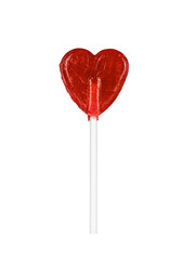 Isolated, red, heart-shaped lollypop.