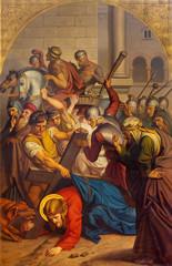 Fototapete - PRAGUE, CZECH REPUBLIC - OCTOBER 15, 2018: The painting of Fall of Jesus under the cross in church Bazilika svatého Petra a Pavla na Vyšehrade by František Čermák (1822 - 1884).