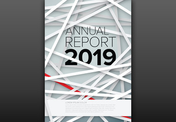 Annual Report Cover Layout with Layered Stripes
