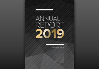 Annual Report Cover Layout with a Geometric Background