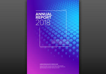 Annual Report Cover Layout with 3D Squares