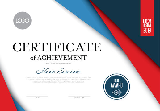 Red and Blue Certificate of Achievement Layout