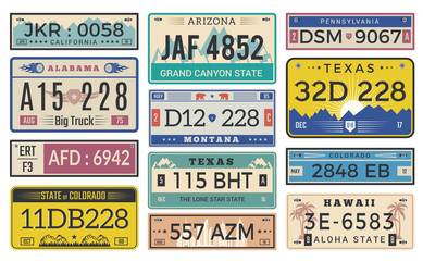 Automobile plate license. Utah usa or indiana different state car registration template vector design. Illustration of number auto registration, license automobile