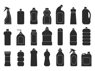 Cleaning bottles silhouettes. Laundry detergent chemical sanitary freshener tools for housework vector illustrations. Detergent container, chemical bottle black silhouette
