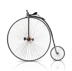 Aluminium Prints Bicycle penny-farthing, high wheel retro bike on white background