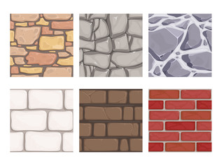 Wall game textures. Seamless rock earth stones ground wallpaper vector patterns. Illustration of masonry surface, brick material, stone pattern