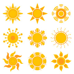 Sun graphics. Summer weather sunshine symbols vector yellow collection. Illustration of sun orange shine sunshine, solar energy