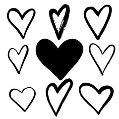 Set of Black hand drawn hearts on white background. Design element for Valentine s day.