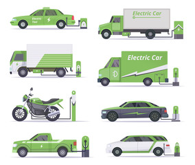 Eco cars. Save weather electricity vehicles vector green collection. Ecology car, energy green, electricity power illustration