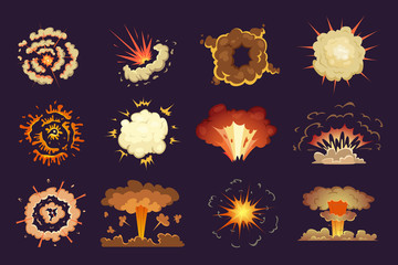 Bomb explosion. Motion abstract blast fire and clouds exploded vector cartoon collection. Set of explosion illustration effect