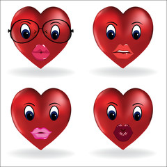 Emoji heart, smiley lip sexy creator. Vector design collection of emoticon body parts and accessories allows you to create your own cool female emojis. - Vector