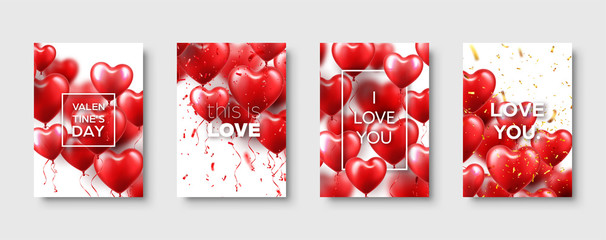 Valentines Mothers day modern abstract card template poster or banner with red heart balloons. Romantic wedding love background. Vector set.