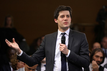 "Julien Denormandie delivers a speech during a meeting as part of the ""great national debate"" in Courcouronnes"