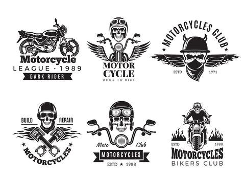 Biker labels. Vintage custom motorcycle and symbols for badges skull bike flags wheel bones engine fire vector road concept. Illustration of motorcycle emblem, biker and motor engine