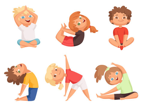 Yoga kids. Children making different yoga exercises young gymnastics vector characters. Illustration of yoga boy and girl stretching