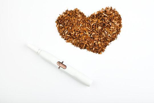 electronic smoke device studio tobacco heart symbol white background