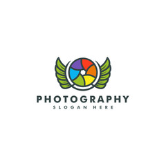 Photography Logo design template vector illustration, wing icon
