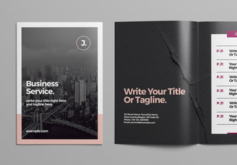 Business Brochure Layout with Pink and Purple Accents