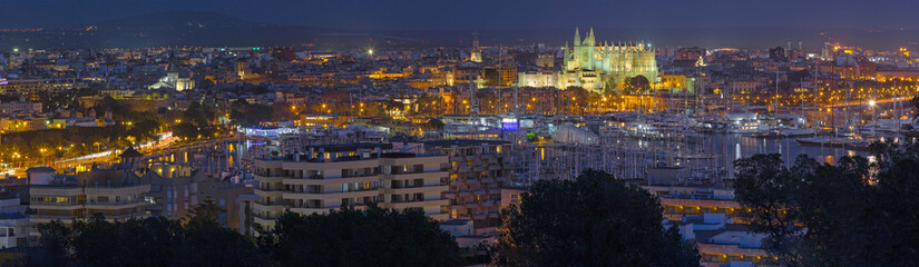 Palma de Mallorca - The cityscape of the town at dusk with the cathedral La Seu.