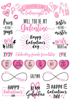 Galentines day cards, women's day, feminist doodles, vector design elements