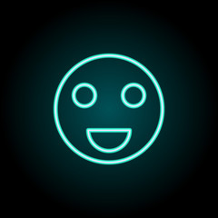 Happy sign icon. Elements of Image in neon style icons. Simple icon for websites, web design, mobile app, info graphics