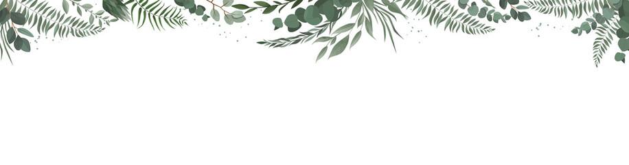 Horisontal botanical vector design banner. Pink rose, eucalyptus, succulents, flowers, greenery. Natural spring card or frame. Fototapete