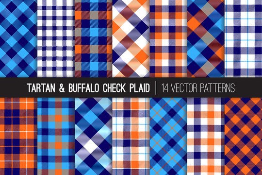 Navy, Blue, White and Orange Tartan and Buffalo Check Plaid Vector Patterns. Hipster Lumberjack Flannel Shirt Fabric Textures. Summer Men's Fashion.Pattern Tile Swatches Included.