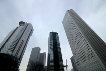 High-rise building group in Shinjuku that is unified in cool colors