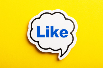Like Speech Bubble Isolated On Yellow Background
