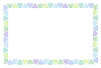 三角のフレーム 水彩 寒色