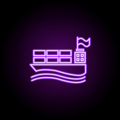 ship with containers outline icon. Elements of Cargo logistic in neon style icons. Simple icon for websites, web design, mobile app, info graphics