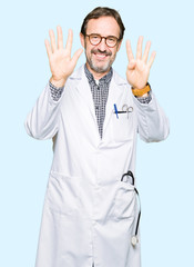 Middle age doctor men wearing medical coat showing and pointing up with fingers number nine while smiling confident and happy.
