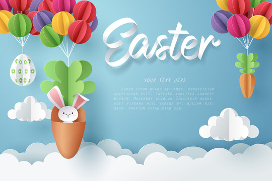 Paper art of Bunny in carrot and Easter eggs hang on colorful balloons, Happy Easter celebration concept