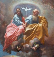 Fototapete - PRAGUE, CZECH REPUBLIC - OCTOBER 12, 2018: The baroque painting of Holy Trinity in church kostel Svatého Tomáše by  Karel Škréta (1610 - 1674).