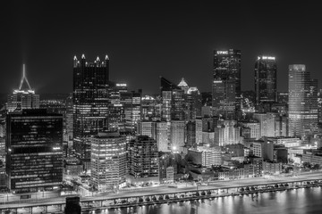 View of the Pittsburgh skyline at night, from Mount Washington, Pittsburgh, Pennsylvania.