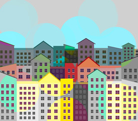 City buildings, apartments in a downtown neighborhood are seen in an illustration. This is an illustration.