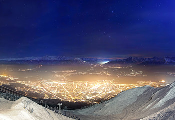 Innsbruck by night from above