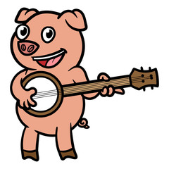 Cartoon Pig Playing Banjo