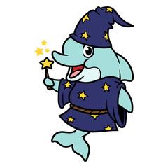 Cartoon Wizard Dolphin Character