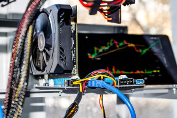 Home mining farm for mining cryptocurrency, close view