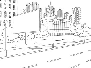 Road billboard graphic black white city landscape sketch illustration vector
