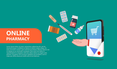 Online drugstore. Pharmacy concept in the flat style isolated.  Web design template  can use for landing page, template, ui, web, mobile app, poster, banner, flyer - Vector
