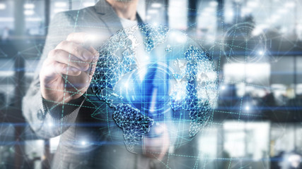 3D earth hologram, Globe,WWW, Global Business and Telecommunication