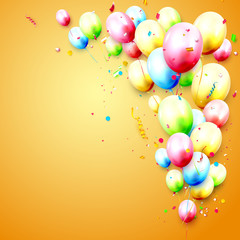 Birthday template with colorful balloons
