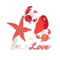 Festive bright card with crabs in love on white background