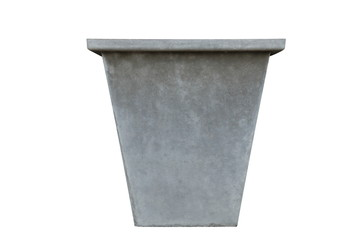 Grey concrete pot container for plant and flower isolated on white background